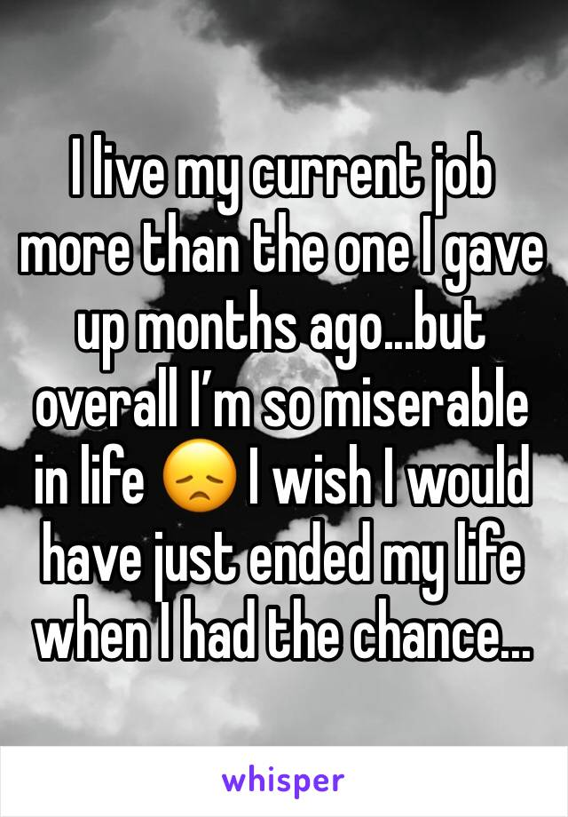 I live my current job more than the one I gave up months ago...but overall I'm so miserable in life 😞 I wish I would have just ended my life when I had the chance...