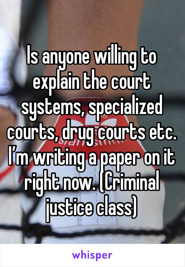 Is anyone willing to explain the court systems, specialized courts, drug courts etc. I'm writing a paper on it right now. (Criminal justice class)