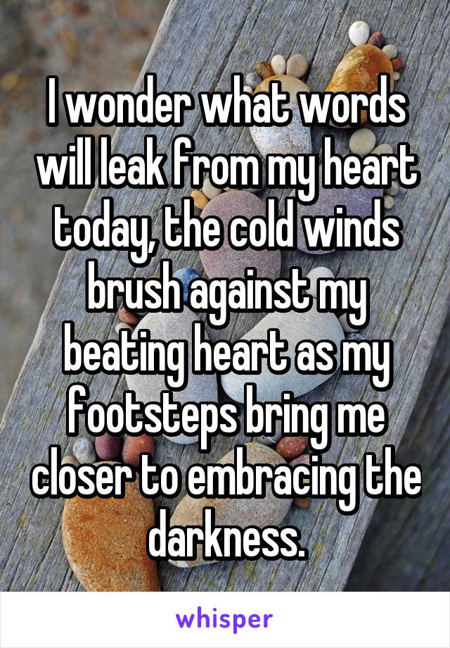 I wonder what words will leak from my heart today, the cold winds brush against my beating heart as my footsteps bring me closer to embracing the darkness.