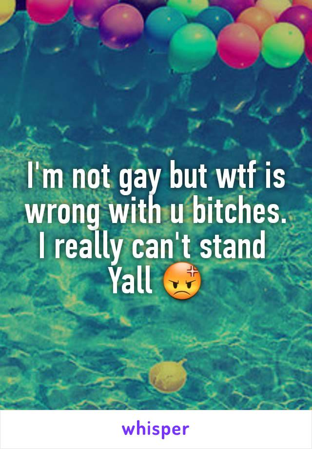 I'm not gay but wtf is wrong with u bitches. I really can't stand  Yall 😡