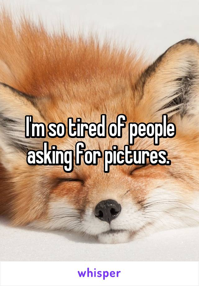 I'm so tired of people asking for pictures.