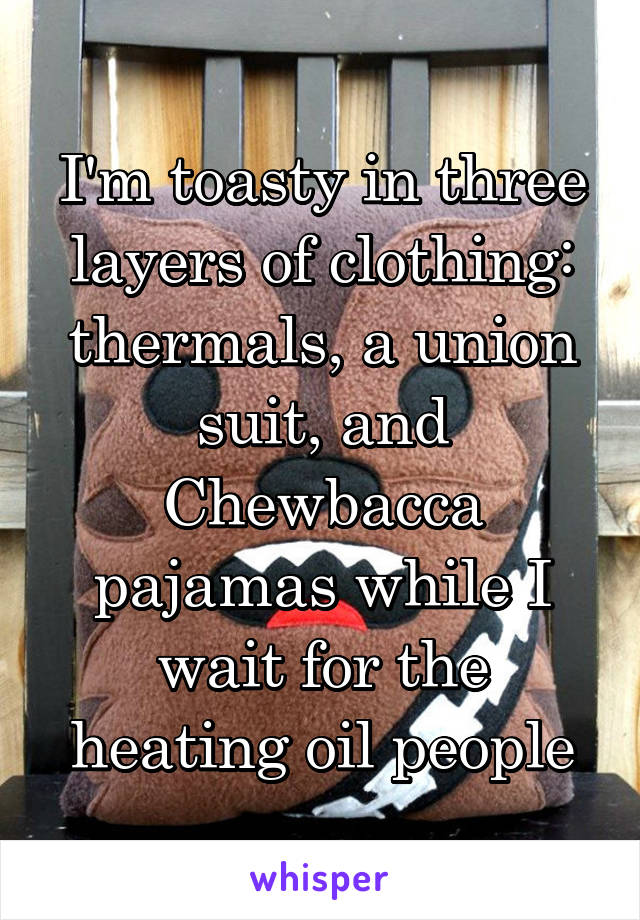 I'm toasty in three layers of clothing: thermals, a union suit, and Chewbacca pajamas while I wait for the heating oil people