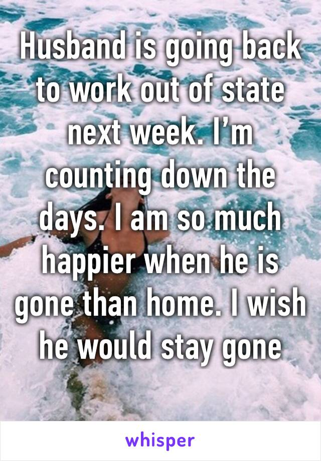 Husband is going back to work out of state next week. I'm counting down the days. I am so much happier when he is gone than home. I wish he would stay gone