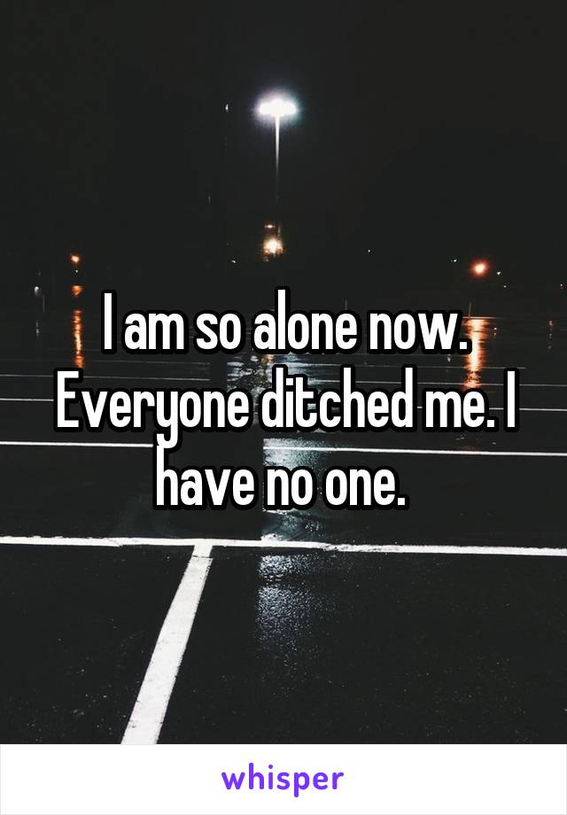 I am so alone now. Everyone ditched me. I have no one.