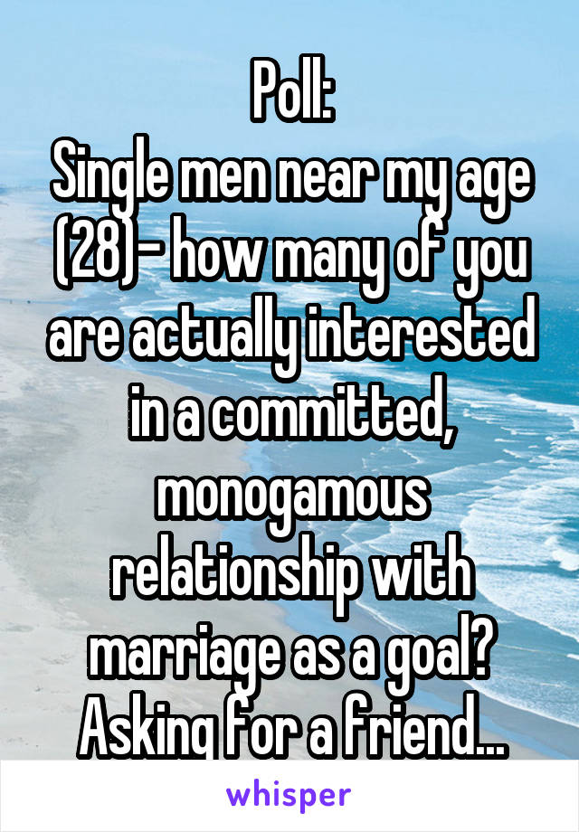 Poll: Single men near my age (28)- how many of you are actually interested in a committed, monogamous relationship with marriage as a goal? Asking for a friend...