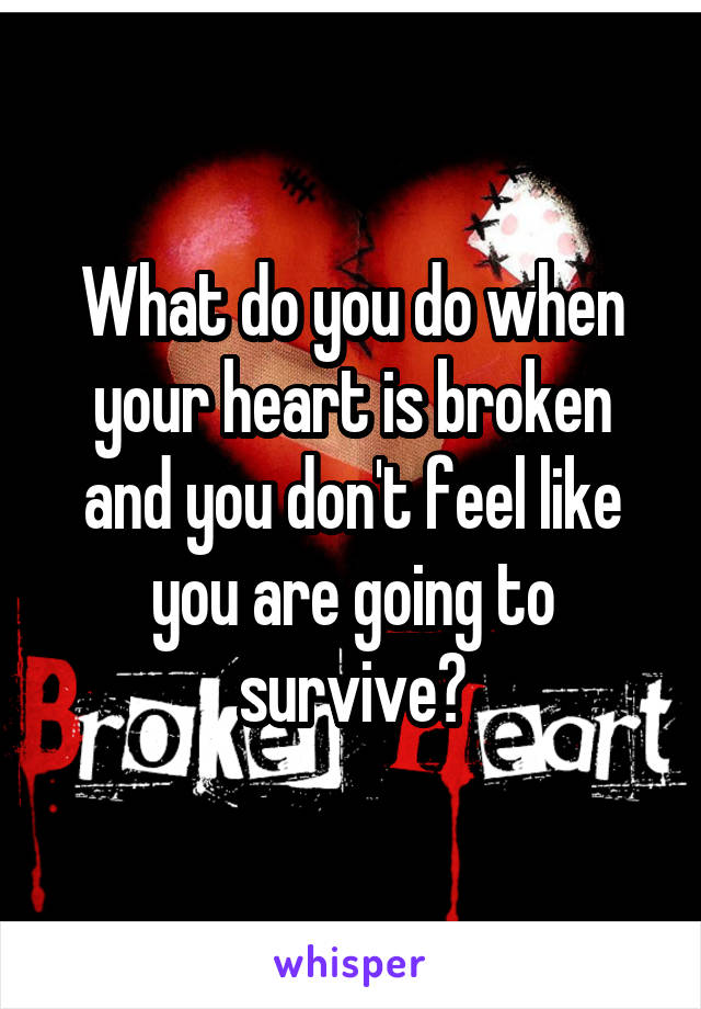 What do you do when your heart is broken and you don't feel like you are going to survive?