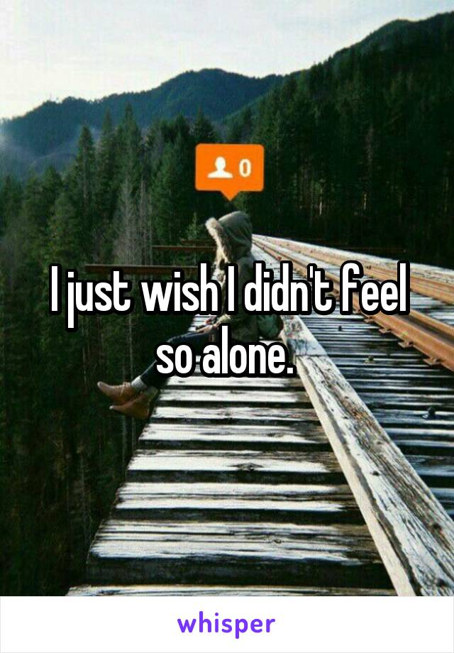 I just wish I didn't feel so alone.