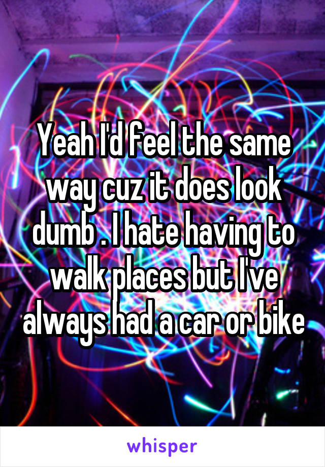 Yeah I'd feel the same way cuz it does look dumb . I hate having to walk places but I've always had a car or bike
