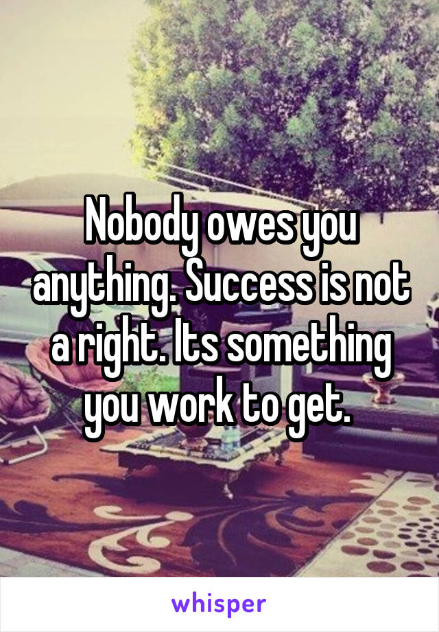 Nobody owes you anything. Success is not a right. Its something you work to get.