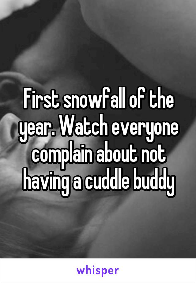 First snowfall of the year. Watch everyone complain about not having a cuddle buddy