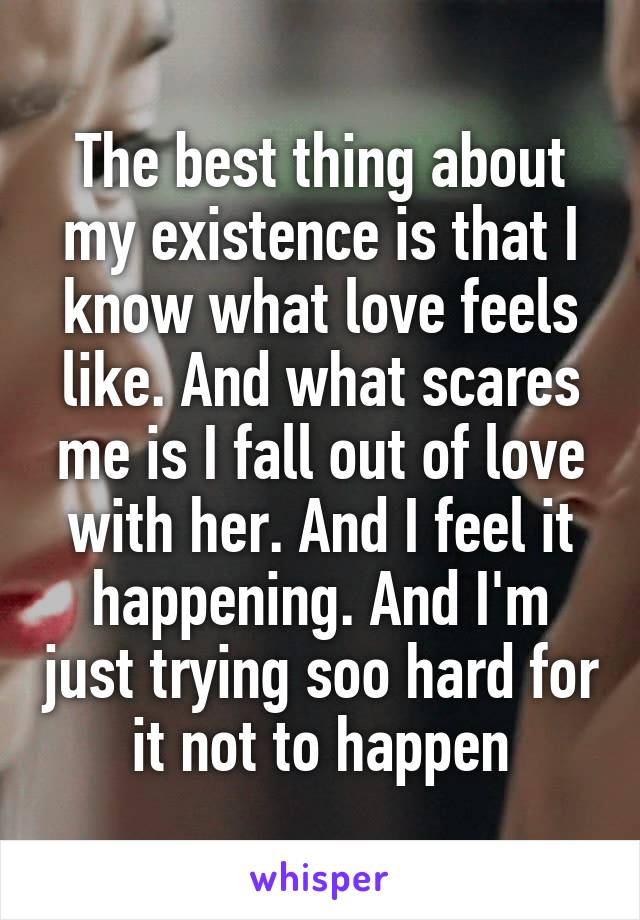 The best thing about my existence is that I know what love feels like. And what scares me is I fall out of love with her. And I feel it happening. And I'm just trying soo hard for it not to happen
