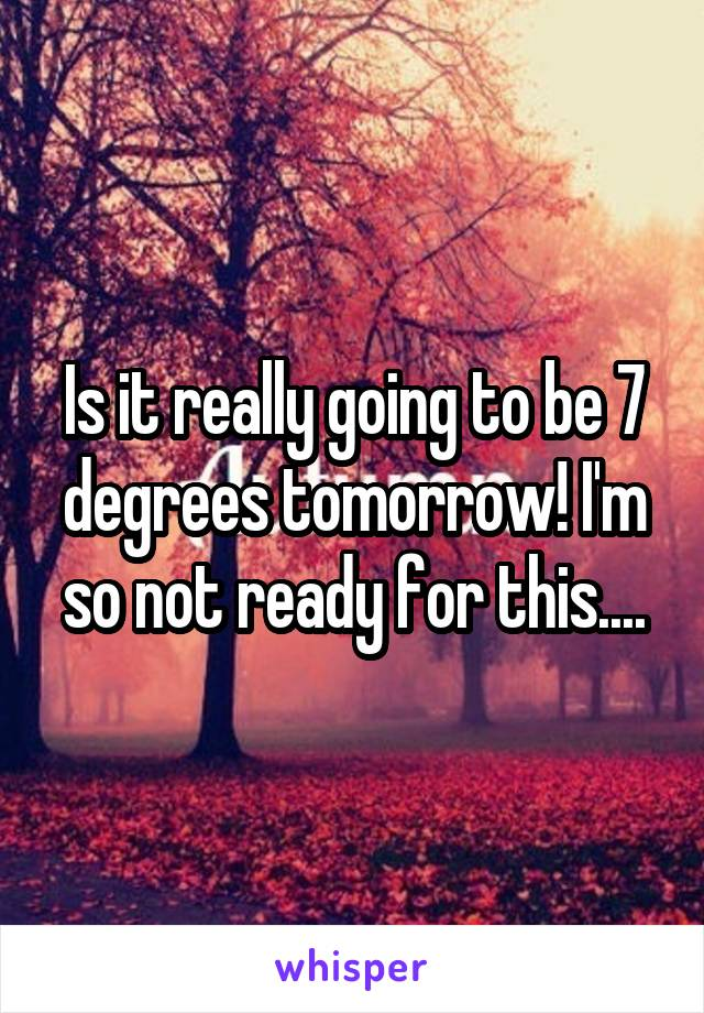 Is it really going to be 7 degrees tomorrow! I'm so not ready for this....