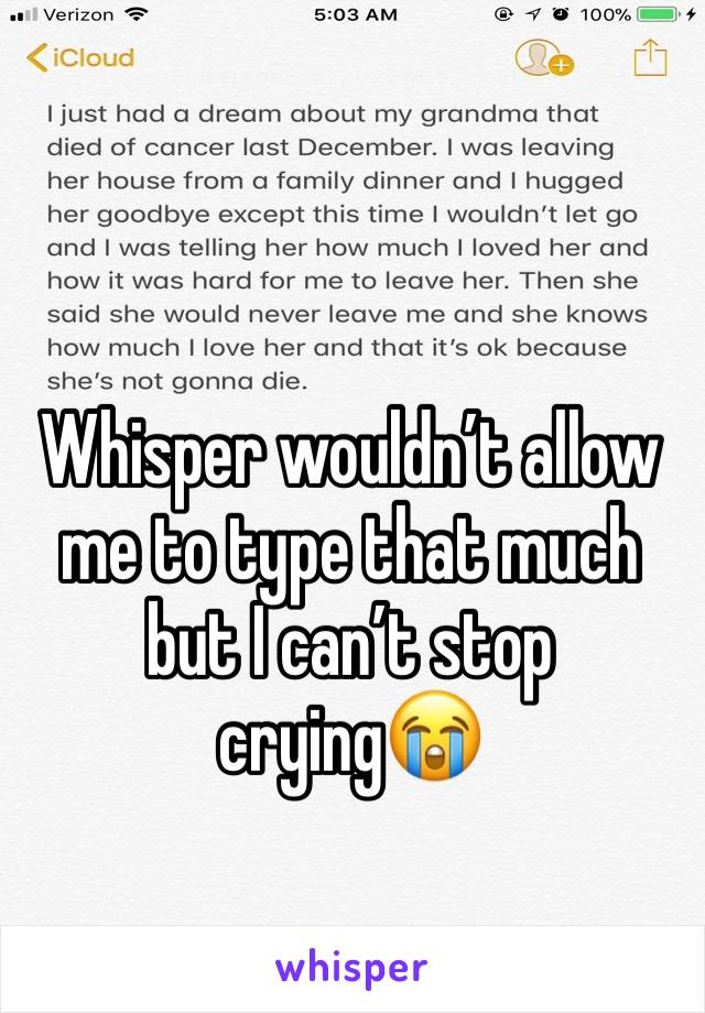Whisper wouldn't allow me to type that much but I can't stop crying😭