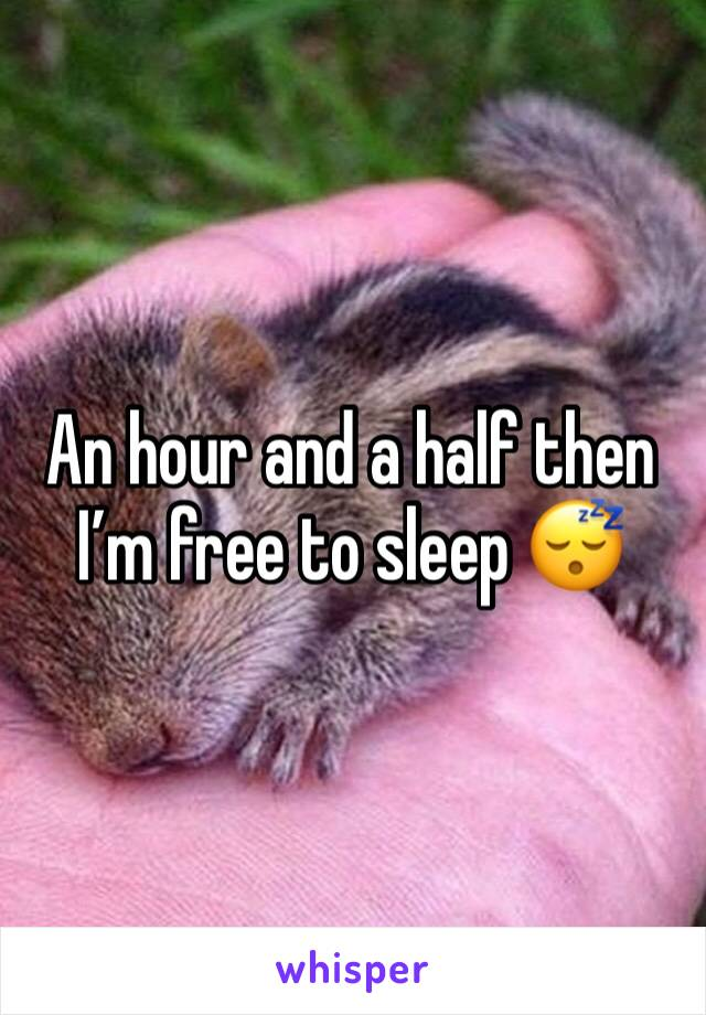 An hour and a half then I'm free to sleep 😴