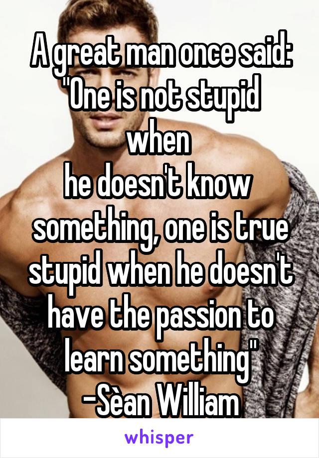 """A great man once said: """"One is not stupid when  he doesn't know  something, one is true stupid when he doesn't have the passion to learn something"""" -Sèan William McLoughlin"""