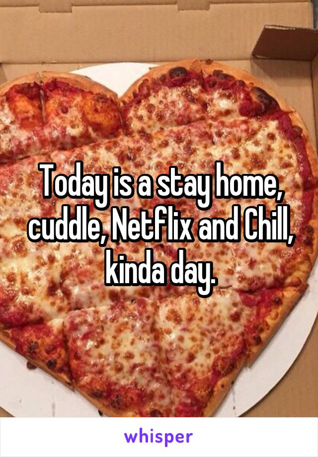 Today is a stay home, cuddle, Netflix and Chill, kinda day.