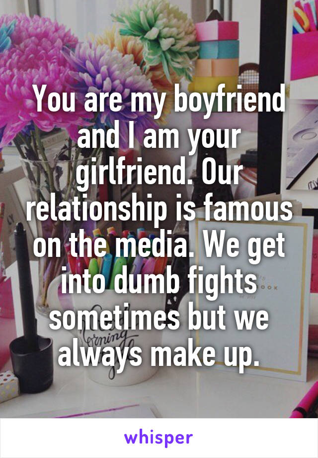 You are my boyfriend and I am your girlfriend. Our relationship is famous on the media. We get into dumb fights sometimes but we always make up.