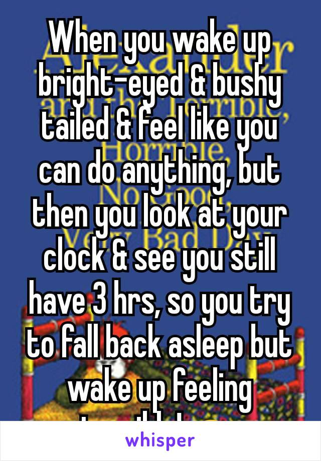 When you wake up bright-eyed & bushy tailed & feel like you can do anything, but then you look at your clock & see you still have 3 hrs, so you try to fall back asleep but wake up feeling terrible!🙇