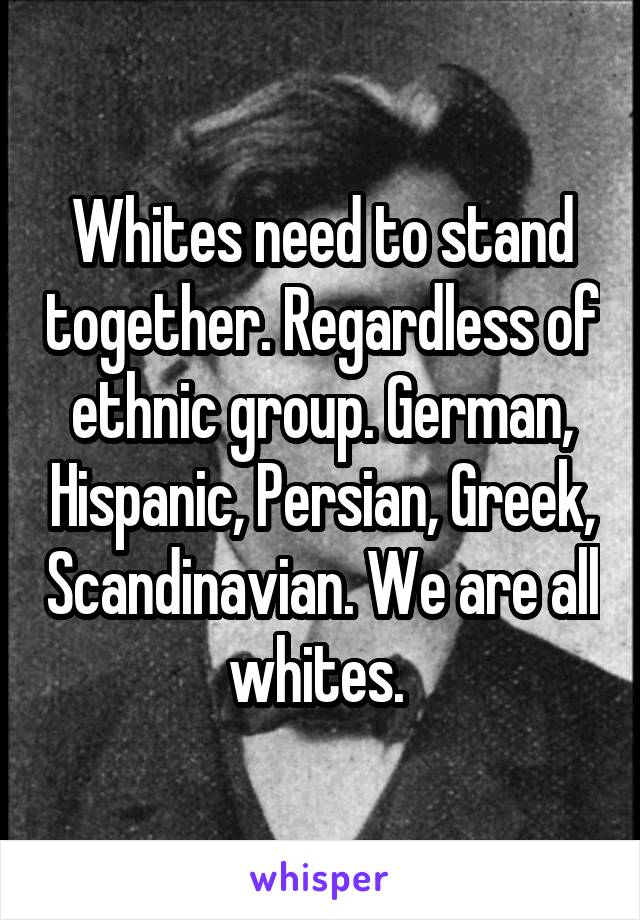 Whites need to stand together. Regardless of ethnic group. German, Hispanic, Persian, Greek, Scandinavian. We are all whites.
