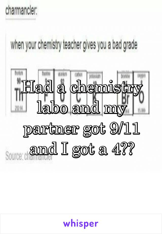 Had a chemistry labo and my partner got 9/11 and I got a 4??