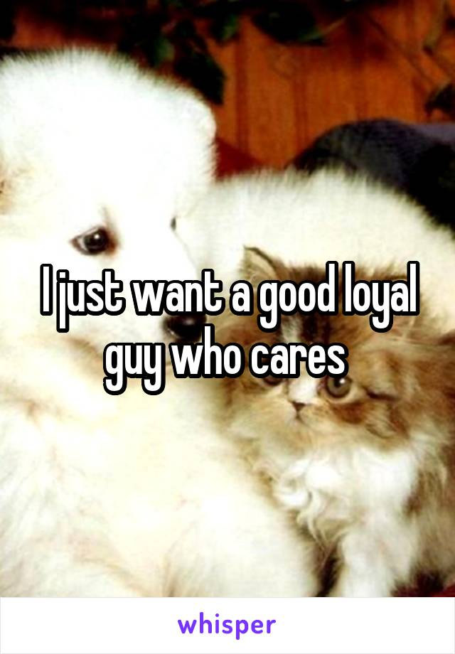 I just want a good loyal guy who cares