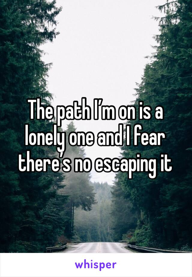The path I'm on is a lonely one and I fear there's no escaping it
