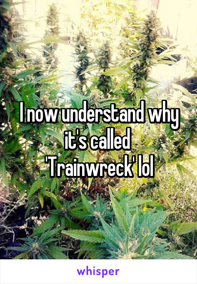 I now understand why it's called  'Trainwreck' lol