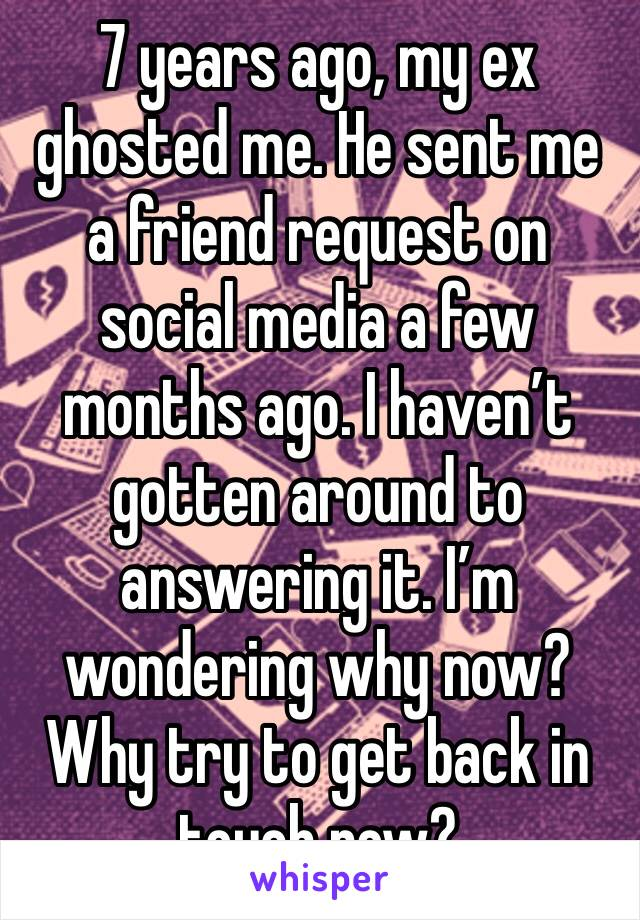 7 years ago, my ex ghosted me. He sent me a friend request on social media a few months ago. I haven't gotten around to answering it. I'm wondering why now? Why try to get back in touch now?