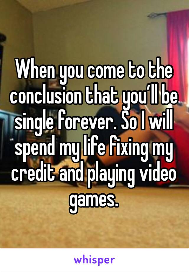 When you come to the conclusion that you'll be single forever. So I will spend my life fixing my credit and playing video games.