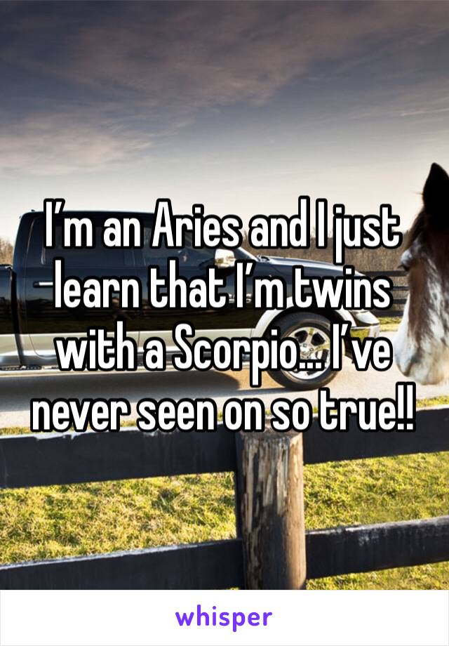 I'm an Aries and I just learn that I'm twins with a Scorpio... I've never seen on so true!!
