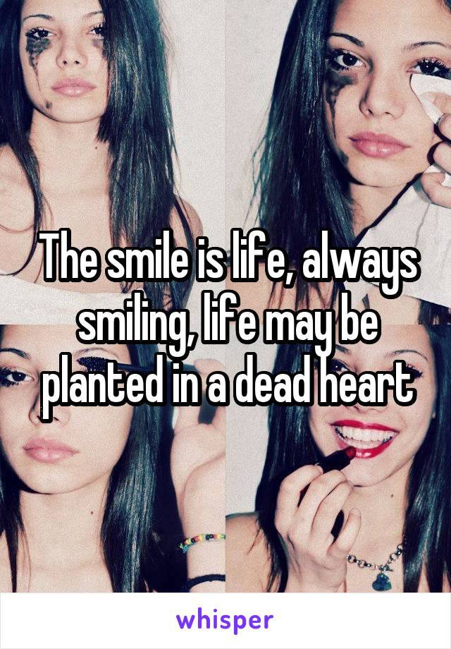 The smile is life, always smiling, life may be planted in a dead heart
