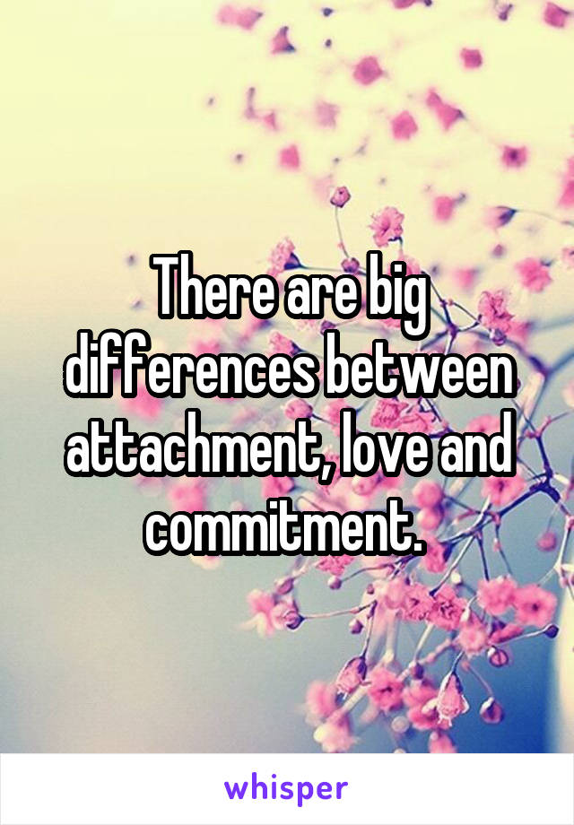 There are big differences between attachment, love and commitment.