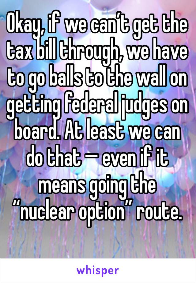 """Okay, if we can't get the tax bill through, we have to go balls to the wall on getting federal judges on board. At least we can do that — even if it means going the """"nuclear option"""" route."""
