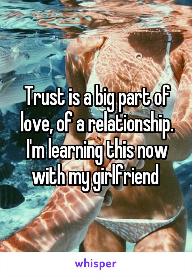 Trust is a big part of love, of a relationship. I'm learning this now with my girlfriend