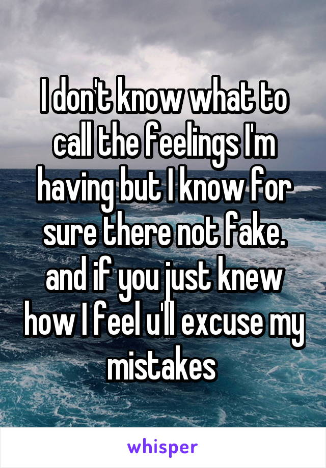 I don't know what to call the feelings I'm having but I know for sure there not fake. and if you just knew how I feel u'll excuse my mistakes