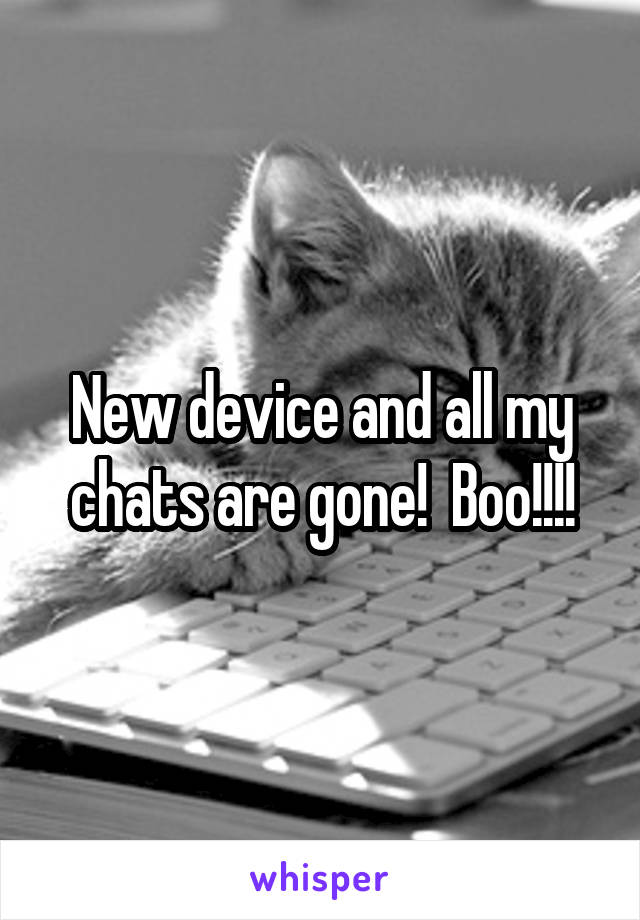 New device and all my chats are gone!  Boo!!!!