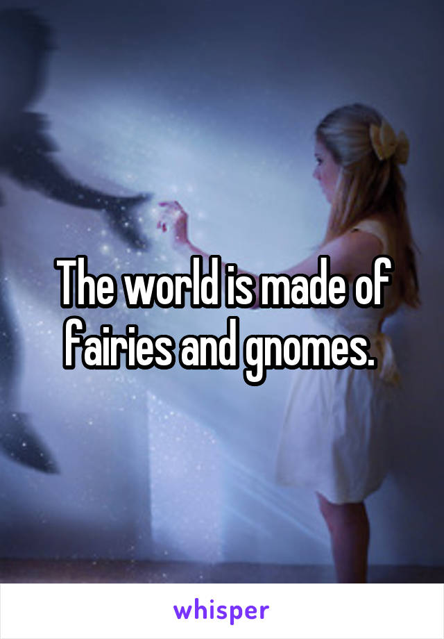 The world is made of fairies and gnomes.