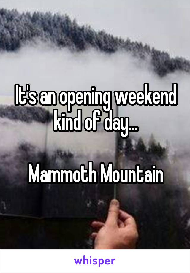 It's an opening weekend kind of day...  Mammoth Mountain
