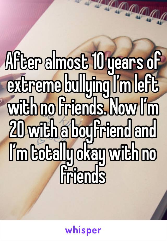 After almost 10 years of extreme bullying I'm left with no friends. Now I'm 20 with a boyfriend and I'm totally okay with no friends