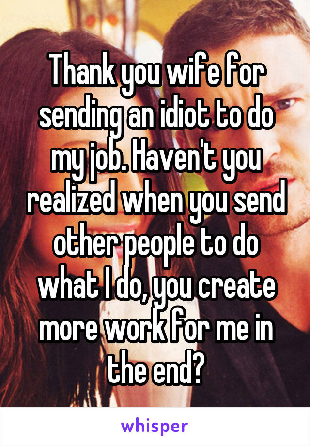 Thank you wife for sending an idiot to do my job. Haven't you realized when you send other people to do what I do, you create more work for me in the end?