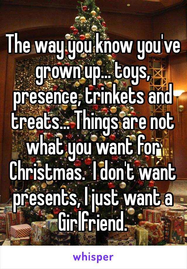 The way you know you've grown up… toys, presence, trinkets and treats… Things are not what you want for Christmas.  I don't want presents, I just want a Girlfriend.