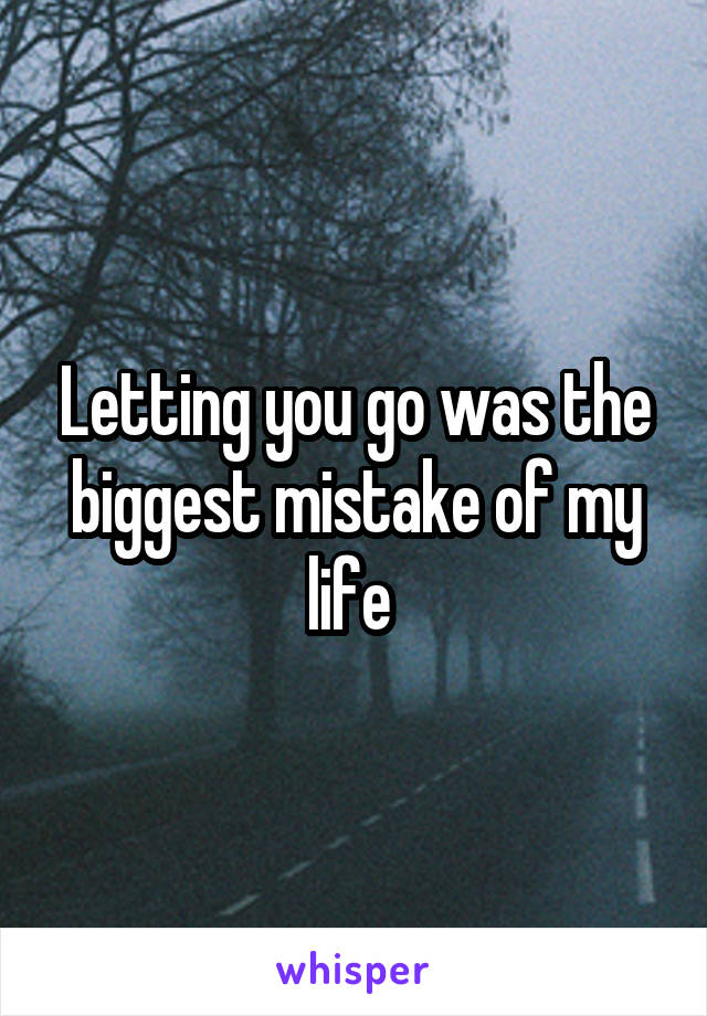 Letting you go was the biggest mistake of my life