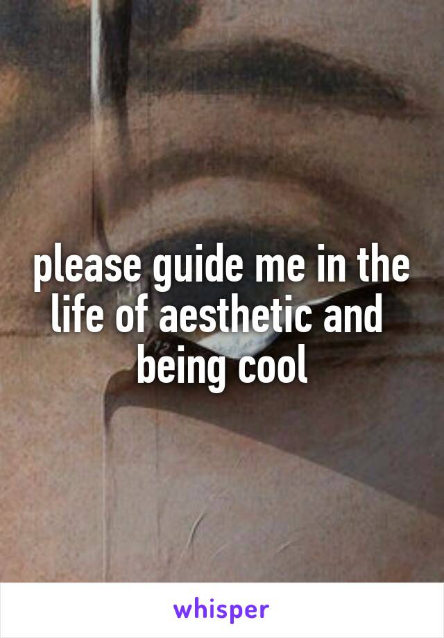 please guide me in the life of aesthetic and  being cool