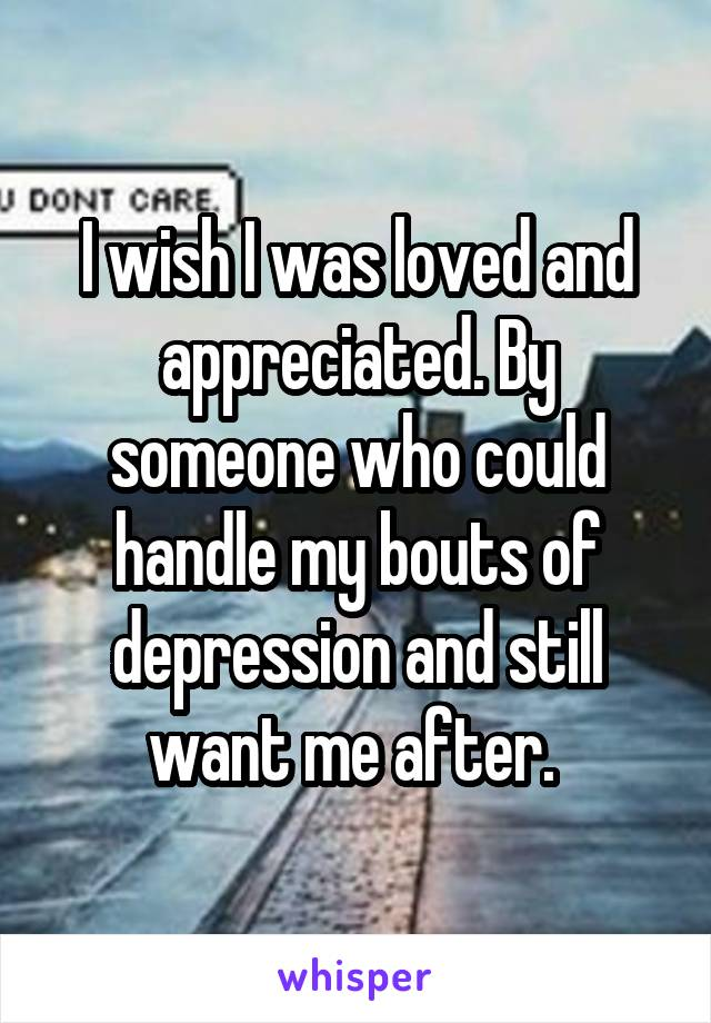 I wish I was loved and appreciated. By someone who could handle my bouts of depression and still want me after.