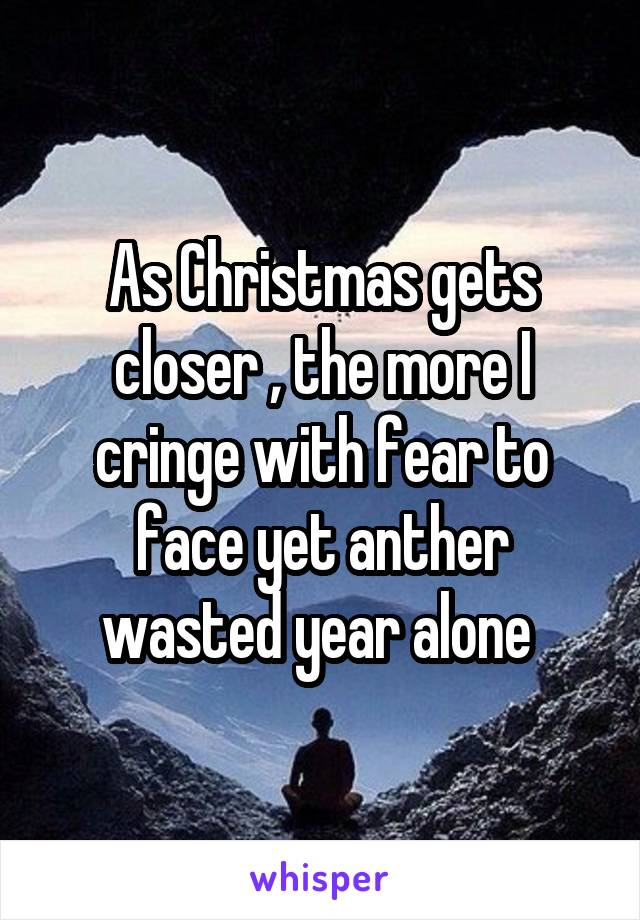 As Christmas gets closer , the more I cringe with fear to face yet anther wasted year alone