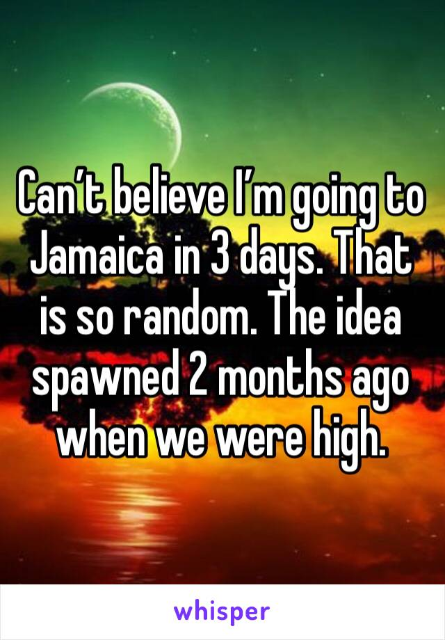 Can't believe I'm going to Jamaica in 3 days. That is so random. The idea spawned 2 months ago when we were high.