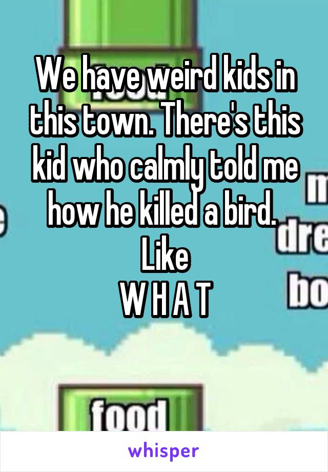 We have weird kids in this town. There's this kid who calmly told me how he killed a bird.  Like W H A T