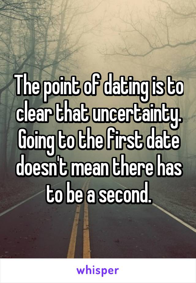 The point of dating is to clear that uncertainty. Going to the first date doesn't mean there has to be a second.