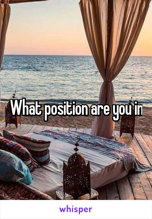 What position are you in