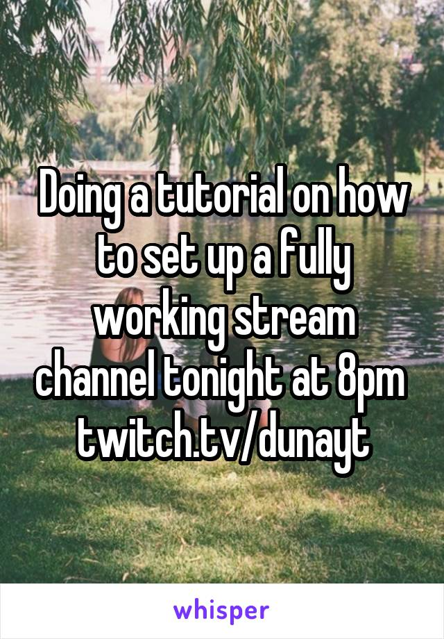 Doing a tutorial on how to set up a fully working stream channel tonight at 8pm  twitch.tv/dunayt